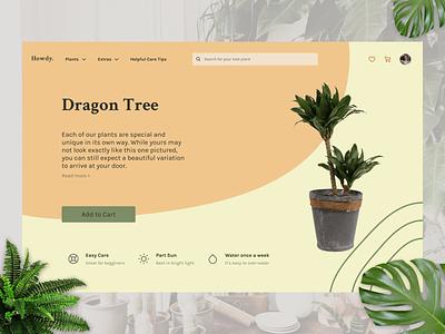 Howdy Plants dragon tree web design web website design app plantshop shop plant
