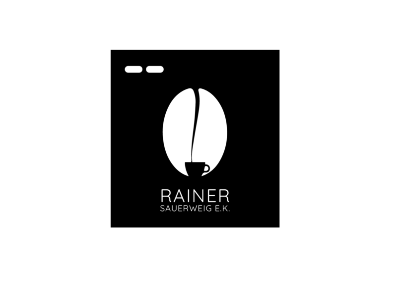 Branding_Rainer_e.k black and white white black coffee cup icon designer logo designer design branding coffee shop machinery machine cafe branding cafeteria cafe logo cafe coffee