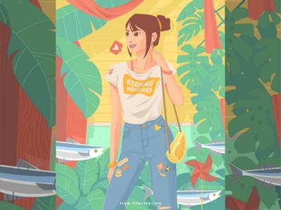 Keeping Memories illustration summer tropical