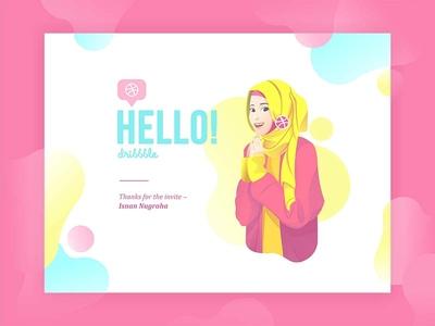 Hello dribbble girl illustration invite first-shot debbut
