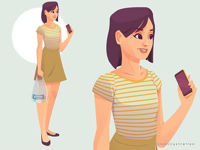 Grocery Shopping girl character vector grocery cute handphone plasticbag shopping girl