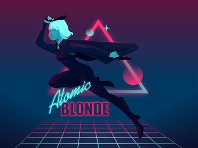 Atomic Blonde Fan Art 80s neon action girl vector