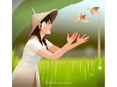 Traditional Indonesian Girl green traditional girl vector illustration