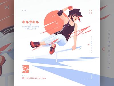 kill la kill x mirror's edge catalyst fan art character anime girl parkour sport game art fan