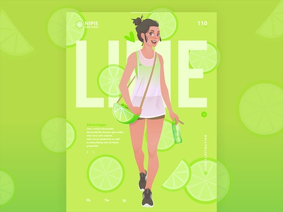 lime fresh health character vector girl green lime