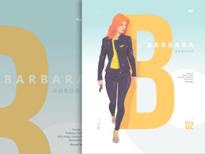 B for Barbara Gordon hero character girl alphabert