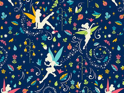 Disney Tinker Bell Pattern flowers textile surface design fairy pattern dooney dooney and bourke disney world disney tink tinker bell