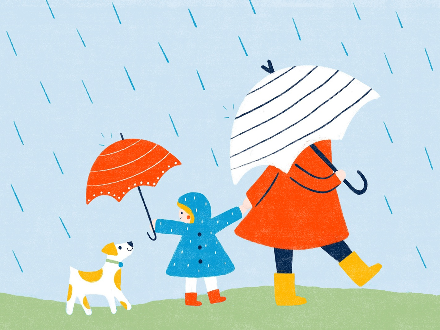 Rainy day disney rain children book illustration umbrella children kids dog