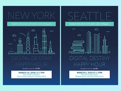 Happy Hour Postcard corporate invitation graphic design chicago atlanta seattle new york happy hour