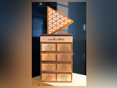 Coveo Blitz Trophy design 3d sculpture trophy