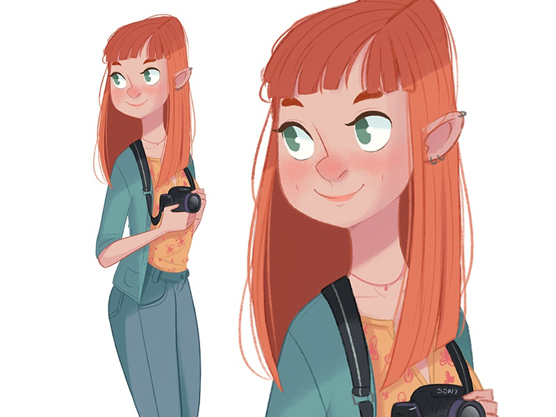 Girl 1 character design camera