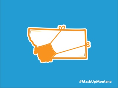 Mask Up Montana logo covid-19 sticker campaign thicklines vector adobe illustrator brand minimal design