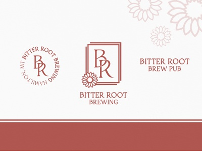 Bitter Root Brewing vector adobe illustrator minimal brewery montana bitter root flower logodesign brand monogram mark logo branding