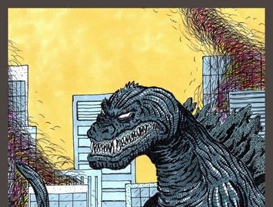 Godzilla kaiju godzilla watercolor markers ink illustration drawing