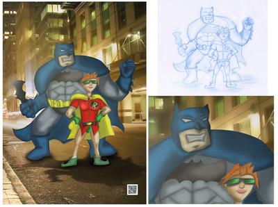 batman digital painting traditional illustration