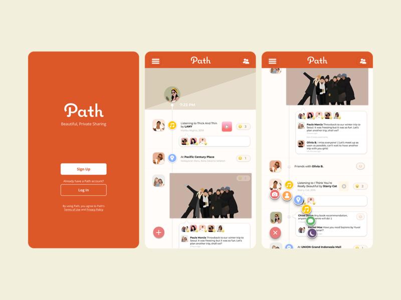 Recreating Path Homepage UI app illustration app design path social media design simple ui uiux ui design ui