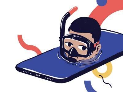 Immerse Yourself snorkle phone iphone ui design design ui drawing illustration