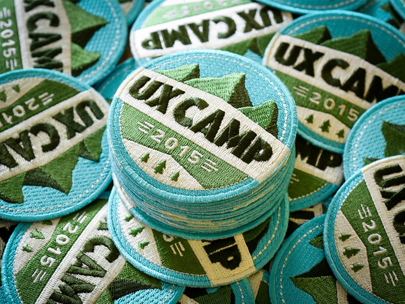 Embroidered patches for UX Camp teal green ux east ux camp badge patch