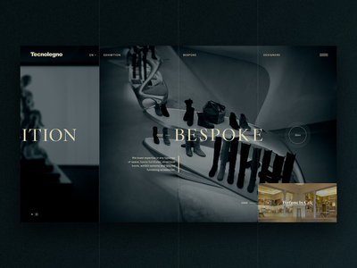 Split screen home page branding ui typography stripes fullscreen case exhibition bespoke design wood minimal website homepage splitscreen