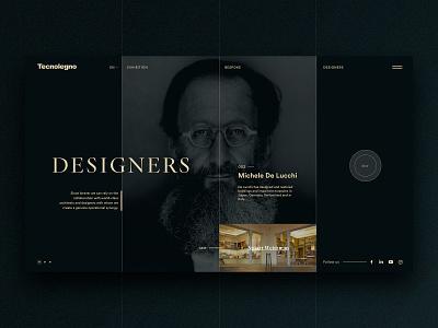 Designers - Profile Page carousel stripes splitscreen minimal dark ui portrait cv design fullscreen intern cases zaha hadid designer