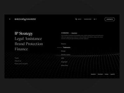 Intellectual Property Consulting Services - Menu abstact minimal typography navigation bar ui ux process site flow navigation menu