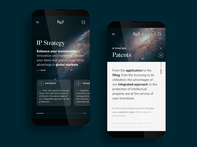 B&Z - IP Strategy › Patents mobile app property intellectual get protection services responsive website web branding ui ux typography star astronaut space sci-fi design minimal mobile