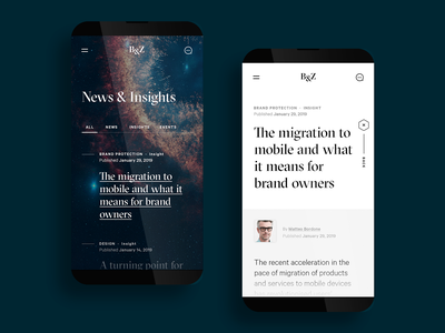 B&Z - News › Article mobile sci-fi space age filter tab read newspaper articles long form article branding design typography ux  ui stars planets legal insights news space