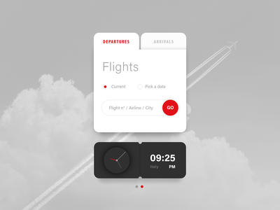 Departures / Arrivals - Widget airplane cloud minimal design digital clock app weather airport fly pm clock city airline date pick a date current flights widget arrivals departures