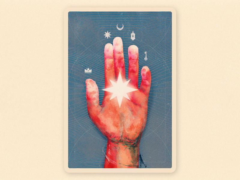 The Hand of the Mysteries supernatural black hand drawn key star magic mistery film dust brush doom taroth card illustration paint hand alchemy