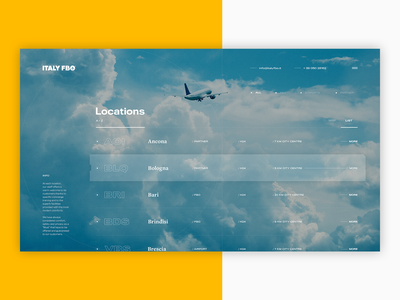 Italy ✈ FBO - Locations skyscanner booking travel tracking app location tracker airplane flights info filters map cities listing ui ux abstract typography airports italy locations