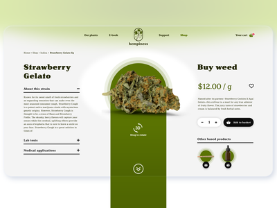 Web product page by Milo Solutions topics flowers seeds indica sativa thc order ecommerce store product view hemp weed cbd cannabis product page ux design ux ui ui design design