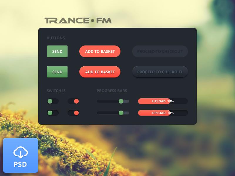Elements Trance FM [PSD] psd elements button switch music freebie flat simple trance
