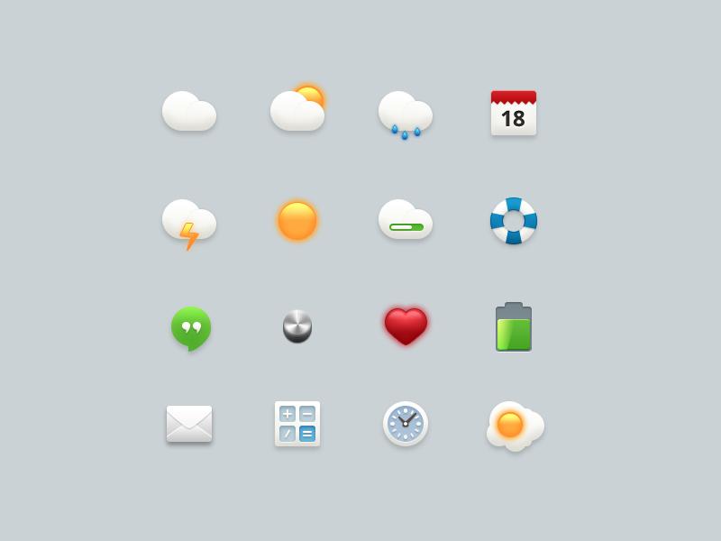 Icon Set [PSD] psd icons weather set freebie hangouts egg clock