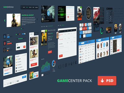 Gamecenter Pack pack psd freebie ui game icons glyphs table shop