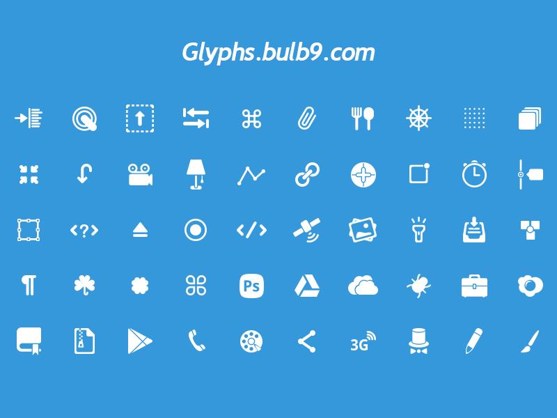 50 glyphs [PSD] set 4 glyphs icon freebie psd download