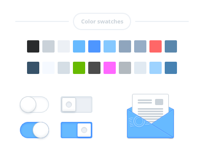 Color swatches dashboard color swatches mail icon blue white