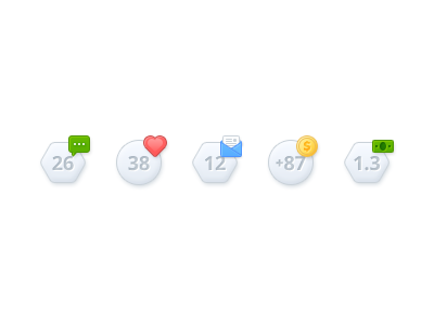 Notification Bubbles notification bubbles icons message heart mail coin dollar