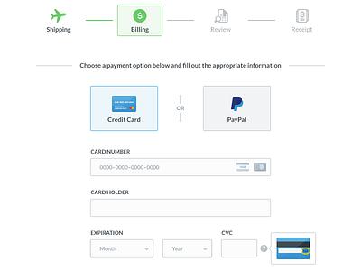 Billing process billing paypal credit card steps input simple