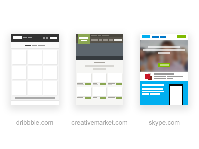 Mini Sites creativemarket skype dribbble site mini