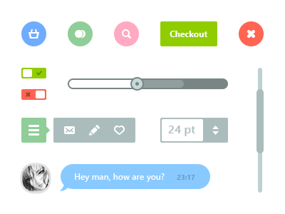 Flat Web Elements psd flat web switch chat bubble icons quick menu scroll bar