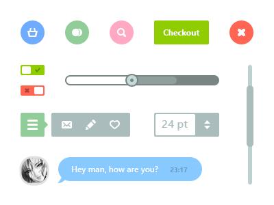 Flat Web Elements psd flat web switch chat bubble icons quick menu scroll bar