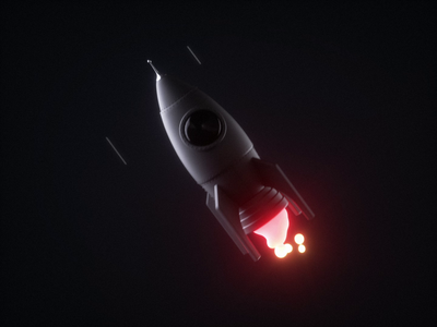 Rocket motion | Iconly 3D fire stars space effect cinema4d c4d pack icon rocketship ship rocket dark design iconly motion 3dmotion animation 3d
