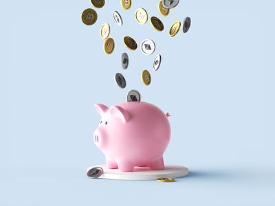 Piggy Crypto Bank design c4d minimal 3d illustration piggy bank crypto cinema4d bitcoin btc etc cute