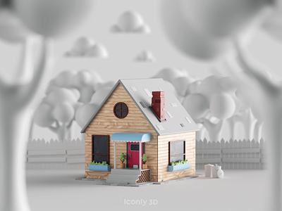 Iconly 3D | Home tree sun night house home illustration icon iconly 3d design iconly 3d graphic design ui dark animation 3dmotion design cinema4d c4d 3d