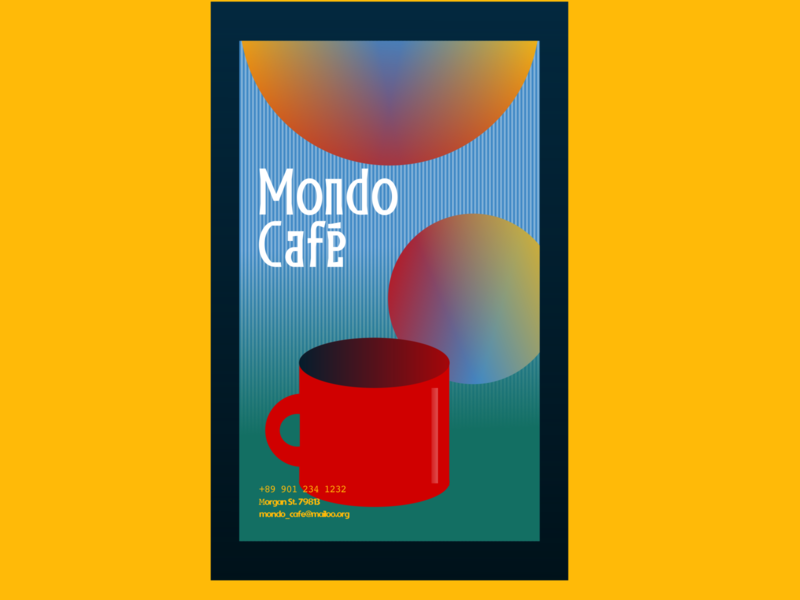 Mondo Café poster graphic design design business coffee shop cafe poster inkscape
