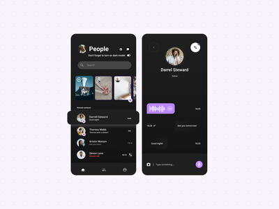 Messenger App Design dark social prototype android app design clean beautiful uiux ux ui redesign chatting app message app chatting neumorphism minimalism minimal flat ui android app messanger