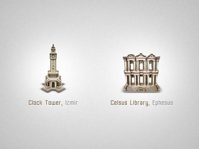 Izmir izmir clock tower clock tower ephesus library antique