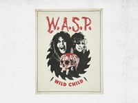 W.A.S.P. Wild Child Poster chris holmes blackie lawless old school vintage retro saw blood skull metal poster rock heavy metal wasp