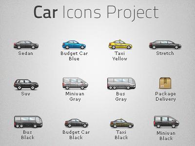 Car Icons pixel icon car sedan minivan bus suv jeep taxi limousine