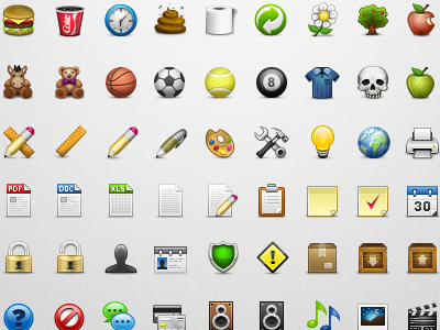 PixeloPhilia 32px Icon Set pixel 32px burger coke shit poo toy apple setting pencil rule user login music download pack print skull basketball tennis 8ball security note calender credit card clipboard icon